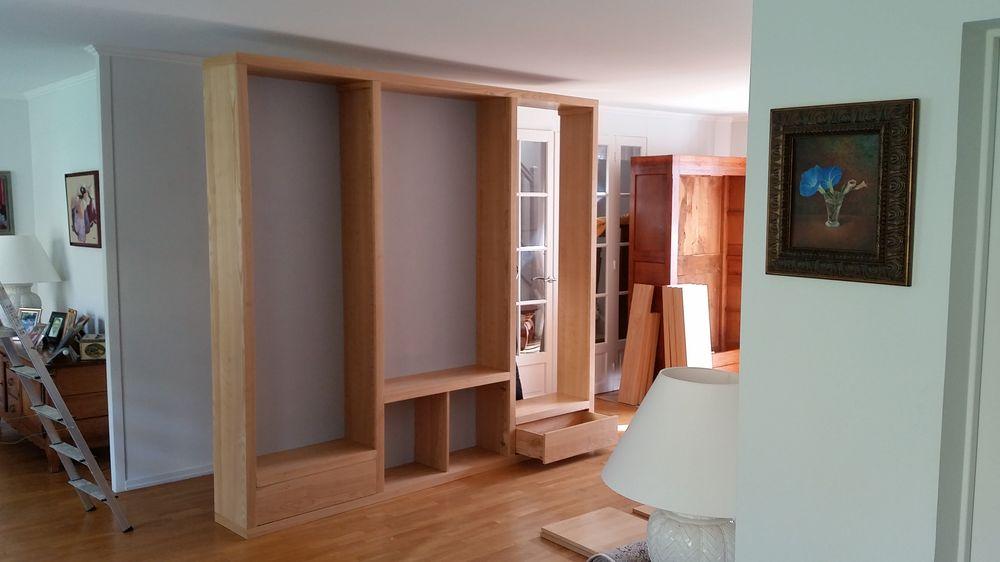 biblioth que contemporaine sur mesure en ch taignier naturel. Black Bedroom Furniture Sets. Home Design Ideas
