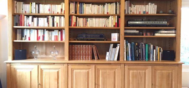 Bibliothèque en châtaignier brut de style Louis XVI